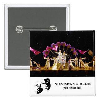 Collage de encargo de la foto del club del drama pin cuadrado