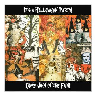 Collage de Halloween del vintage Invitación 13,3 Cm X 13,3cm