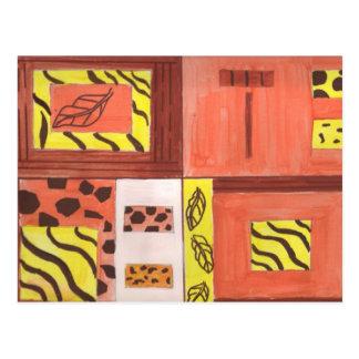 Collage de hojas tarjeta postal