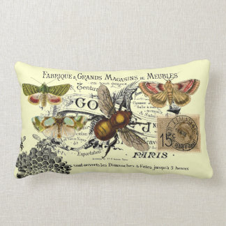 Collage de la abeja del vintage cojin