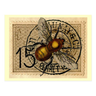 Collage de la abeja del vintage tarjeta postal