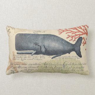 Collage de la ballena azul de la playa cojín lumbar