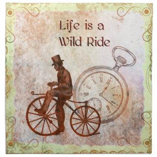 Collage de la bicicleta de Steampunk del paseo Servilleta Imprimida