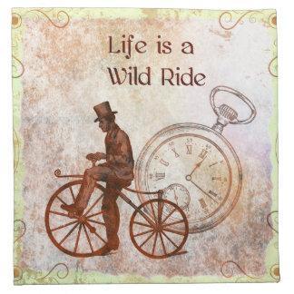 Collage de la bicicleta de Steampunk del paseo Servilletas De Papel