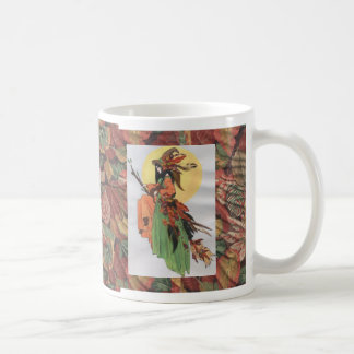 collage de la bruja de la caída con las hojas tazas de café