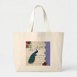 Collage de la canción del pavo real del vintage bolsa lienzo
