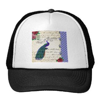 Collage de la canción del pavo real del vintage gorras de camionero