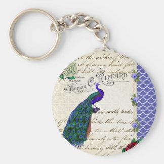 Collage de la canción del pavo real del vintage llavero personalizado