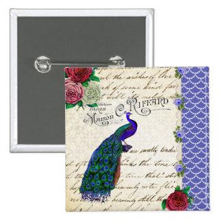 Collage de la canción del pavo real del vintage pins