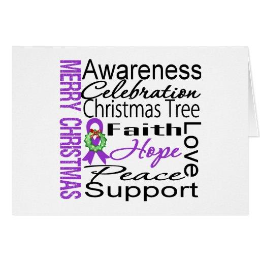 Collage de la cinta del cáncer pancreático de las  tarjeta de felicitación