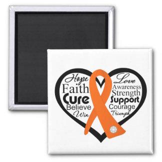 Collage de la cinta del corazón de la esclerosis m iman de nevera