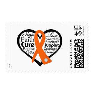 Collage de la cinta del corazón de la leucemia timbres postales