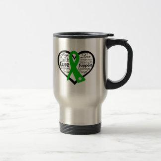Collage de la cinta del corazón de la salud mental taza de viaje de acero inoxidable