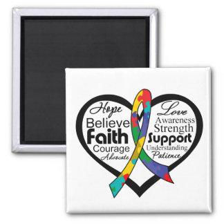 Collage de la cinta del corazón del autismo imán cuadrado