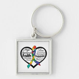 Collage de la cinta del corazón del autismo llavero