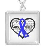 Collage de la cinta del corazón del cáncer de colo pendientes