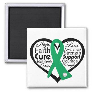 Collage de la cinta del corazón del cáncer de híga imanes de nevera