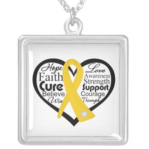 Collage de la cinta del corazón del cáncer de la n colgante cuadrado