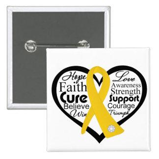 Collage de la cinta del corazón del cáncer de la pin cuadrado