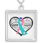 Collage de la cinta del corazón del cáncer de tiro joyeria personalizada
