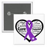 Collage de la cinta del corazón del cáncer pancreá pins
