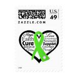 Collage de la cinta del corazón del linfoma de sellos