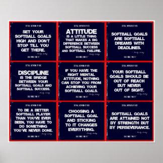 Collage de la cita del softball 9 en rojo, blanco  impresiones