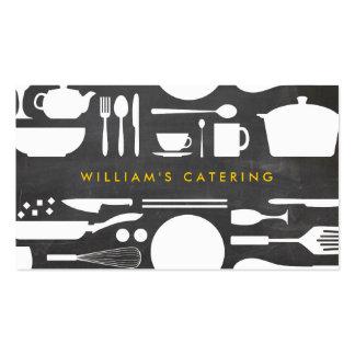 Collage de la cocina en fondo de la pizarra tarjetas de visita