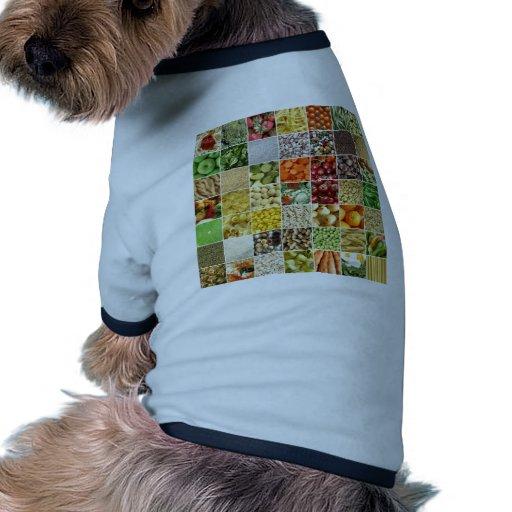 Collage de la comida camiseta con mangas para perro