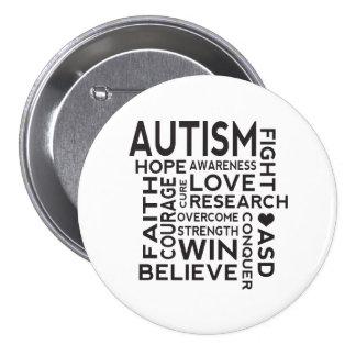 Collage de la conciencia del autismo pin redondo 7 cm