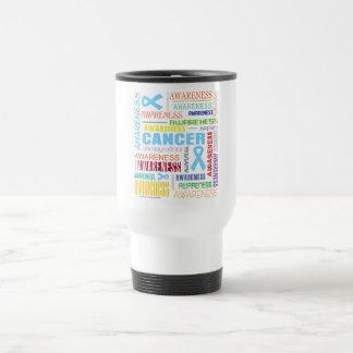 Collage de la conciencia del cáncer de próstata tazas de café