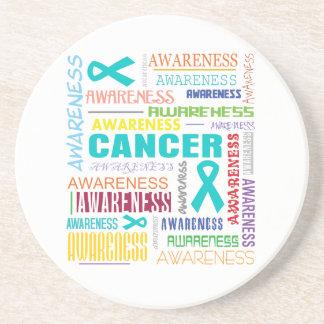 Collage de la conciencia del cáncer ovárico posavaso para bebida