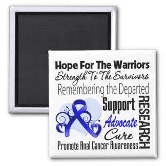 Collage de la esperanza del tributo - cáncer anal imán cuadrado