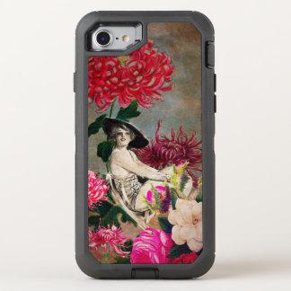Collage de la flor de la mujer del vintage funda OtterBox defender para iPhone 7