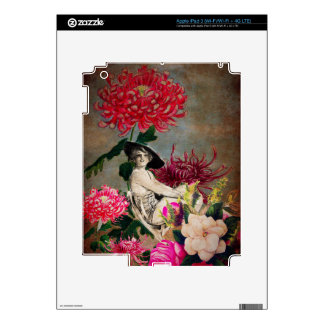 Collage de la flor de la mujer del vintage iPad 3 pegatina skin