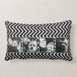 Collage de la foto con el modelo blanco y negro de almohadas