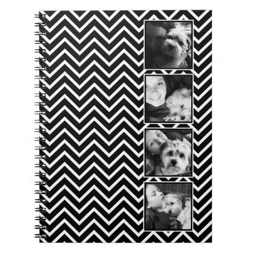 Collage de la foto con el modelo blanco y negro de libretas espirales