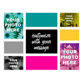 Collage de la foto de CMYK Mondrian-esque Postal