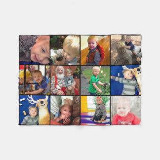 Collage de la foto de familia 12 fotos cuadradas manta de forro polar