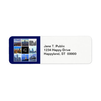 Collage de la foto de la imagen del horizonte 8 de etiqueta de remitente
