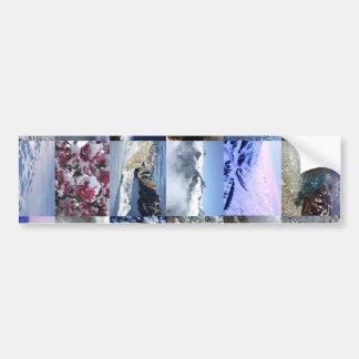 Collage de la foto de la nieve pegatina de parachoque