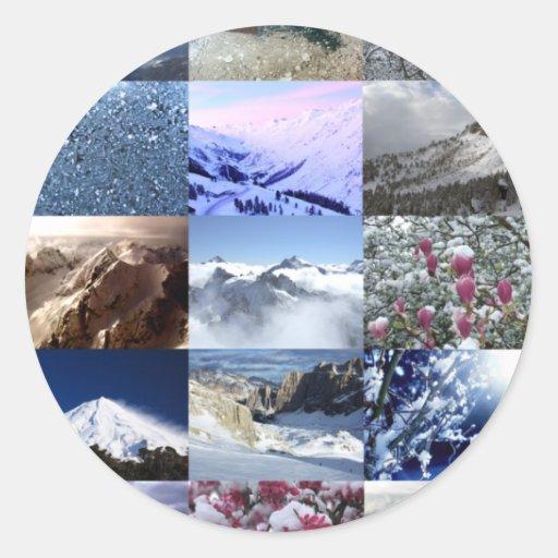 Collage de la foto de la nieve pegatina redonda