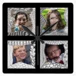 Collage de la foto de las Añadir-Su-Fotos 4 Relojes De Pared
