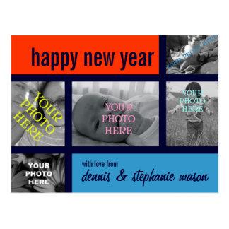 Collage de la foto de Mondrian-esque Colorblock Tarjetas Postales