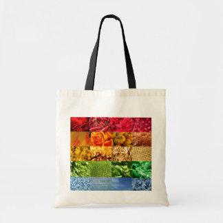 Collage de la foto del arco iris bolsas lienzo