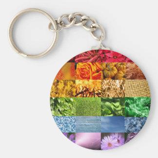 Collage de la foto del arco iris llavero redondo tipo pin