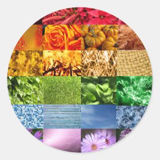 Collage de la foto del arco iris pegatinas redondas