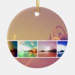 Collage de la foto del embarcadero de Santa Mónica Ornamento De Navidad
