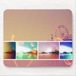 Collage de la foto del embarcadero de Santa Mónica Tapetes De Ratones