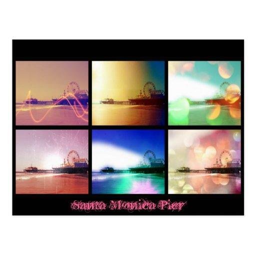 Collage de la foto del embarcadero de Santa Mónica Postales